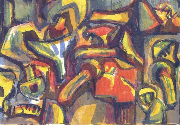 Pilze, 1971, Farb-Lithographie, 49 x 34 cm