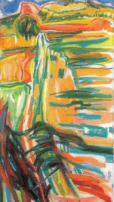 Wege im Hegau, 1991, Öl auf Hartfaser, 71 x 123 cm
