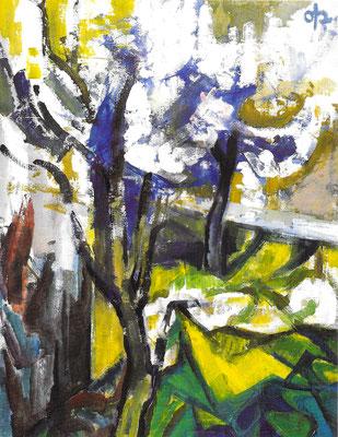 Blütenbäume, 1969, Dispersion und Öl auf Hartfaserplatte, 81 x 104 cm