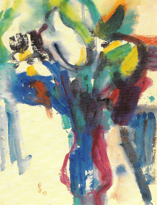 Frühlingsstrauß, 1977, Aquarell auf Japan, 50 x 65 cm