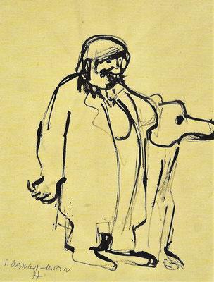 Dame mit Hund, 1977, Tusche auf Papier, 30 x 40 cm