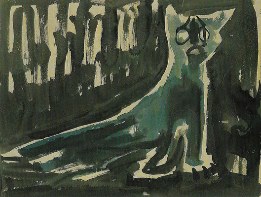 Überfahrene Katze, Aquarell auf Papier, 62 x 49 cm