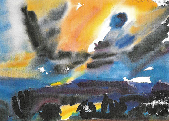 Der Abend, 1982, Aquarell auf Papier, 65 x 47 cm