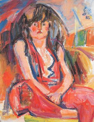 Portrait Sibylle, 1985, Öl auf Hartfaser, 85 x 110 cm