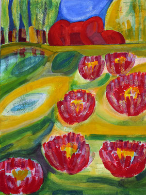 Seerosenteich, Acryl auf Leinwand, 70 cm x 80 cm