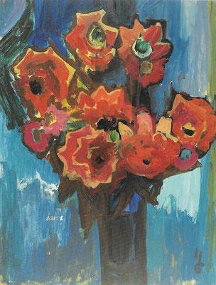 Dahlien, 1969, Acryl auf Preßspanplatte, 80 x 105 cm
