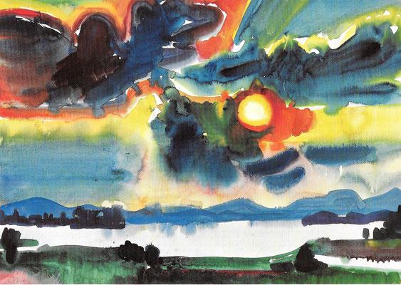 Rote Sonne über dem See, 1968, Aquarell auf Papier, 86 x 60 cm