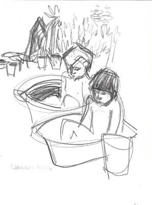 Bad im Garten, 1966, Kreide auf Papier, 28 x 37 cm