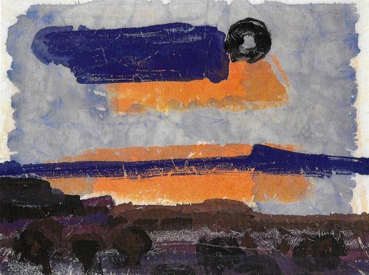 Gewitterstimmung, 1975, Aquarell auf Japanpapier, 55 x 40 cm
