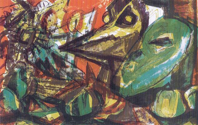 Masken, um 1970, Farb-Lithographie, 57 x 36 cm