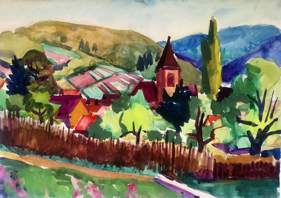Landschaft bei Staufen, 1955, Aquarell, 60 x 42 cm