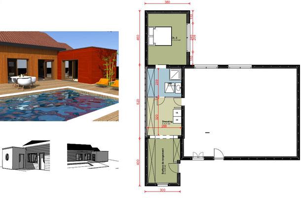 2 extensions ossature bois avec toit terrasse.
