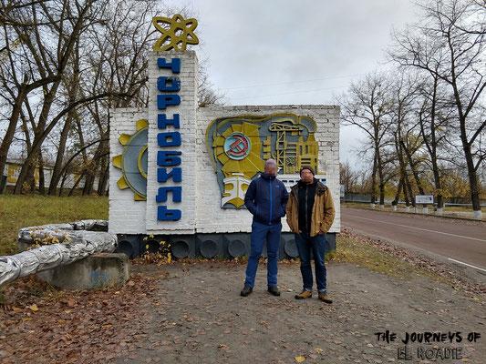Ortseingangsschild Tschernobyl Stadt