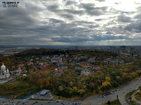 Blick von der Plattform auf 91 m Höhe