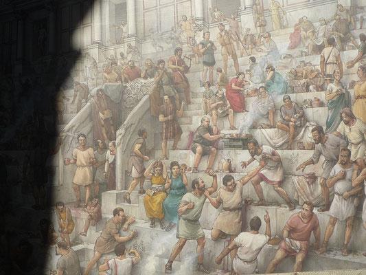 Bild aus einem Museum in Rom, schon früher raufte man sich im Stadion