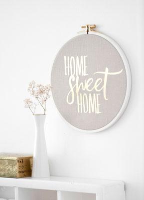 Spruchrahmen Home Sweet Home-Anika Liedtke-ani-textildesign-berlin