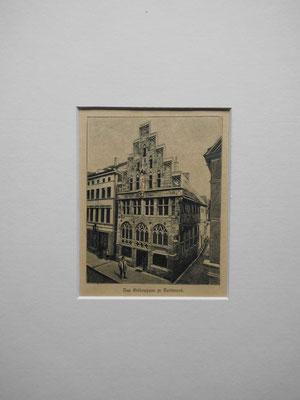 """"""" das Gildenhaus in Dortmund """"Holzstich von 1897 Das Haus entstand im 15. Jh.und war z.Zt. des Stiches im Besitz des Bingener Winzers F. Wenigheimer. EUR 60,--"""