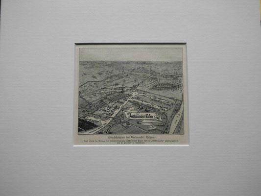 """"""" Der Hafen zu Dortmund """" Original Holzstich aus 1899, erschienen bei ErnstbKeil in Leipzig anläßlich der Einweihung des Dortmund-Ems-Kanals.Der Stich entstand nach einem Foto von Overhoff in Dortmund EUR 50,--"""