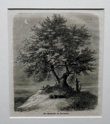""""""" Die Vehmlinde bei Dortmund """" Original Holzstich aus dem Jahre 1863, erschienen bei Ernst Keil, Leipzig. Der alte Gerichtsplatz mit der Vehmlinde befand sich in Dortmund am Königswall gegenüber dem Hauptbahnhof. EUR 60,--"""