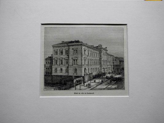 """"""" Ansicht des Landgerichts an der Kaiserstrasse """"Holzstich von Clerget aus LÁllemagne Illustree """" 1885 in Paris bei Malte-Brun. Das Gebäude ist fälschlich als Rathaus bezeichnet."""