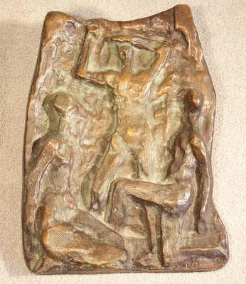 """""""Relief mit drei Personen"""" Auflage 100 Exx., gegossen bei Kittel in Düsseldorf, Jahresgabe der Oldenburg-Gesellschaft, monogrammiert """"EO 38/100"""", 550,-€"""