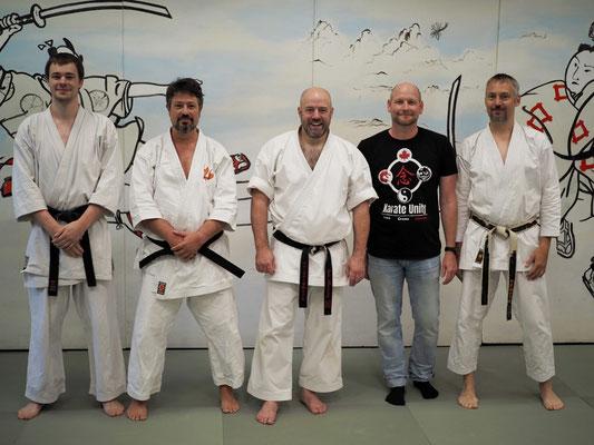 von links: Andreas Schönfeld, Holger Brink (TSV Achim e.V.), Iain Abernethy, Knut Riedel (Budocentrum Hamburg), Andreas Seebeck (Karate-Dojo Shoshi)