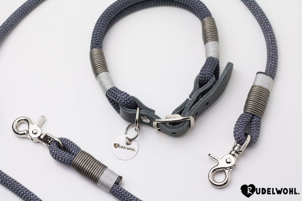 "Kletterseil ""Asphalt"" mit Takelung Leder Metallic Grau & Standard Silber"