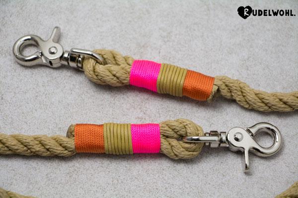 "Segeltau ""Sand Twisted"" mit Takelung Leder Senfgelb, Standard Orange & Neonpink"