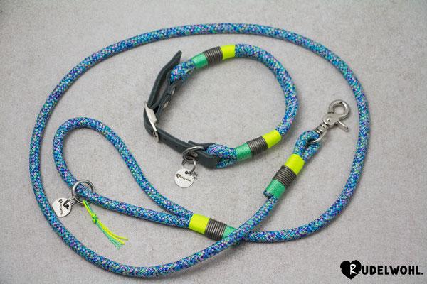 "Segeltau ""Atlantik"" mit Takelung Mint, Neongelb & Leder Grau Metallic"