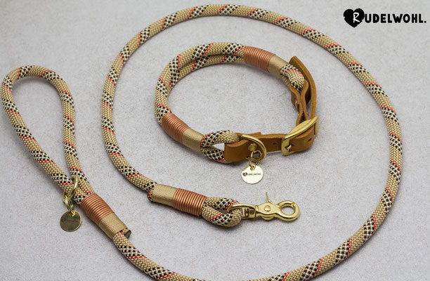 "Kletterseil ""Goldberry"" mit Takelung Gold & Leder Kupfer Metallic"