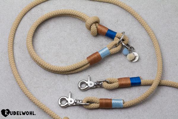 "Segeltau ""Sandy Beach"" mit Takelung Leder Metallic Kupfer & Glanz Babyblau + Glanz Blau"