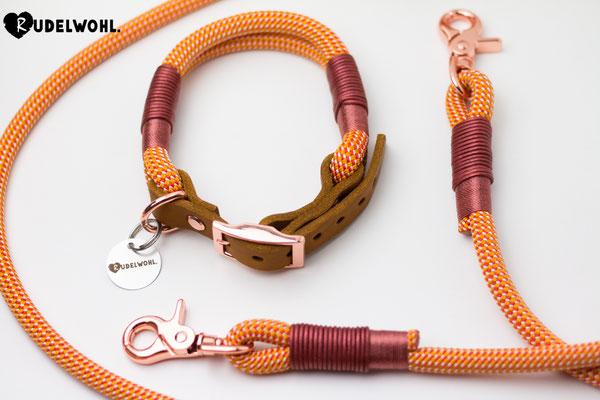 "Kletterseil ""Sunlight"" mit Takelung Leder Metallic Rot & Glanz Kupfer Rosé"