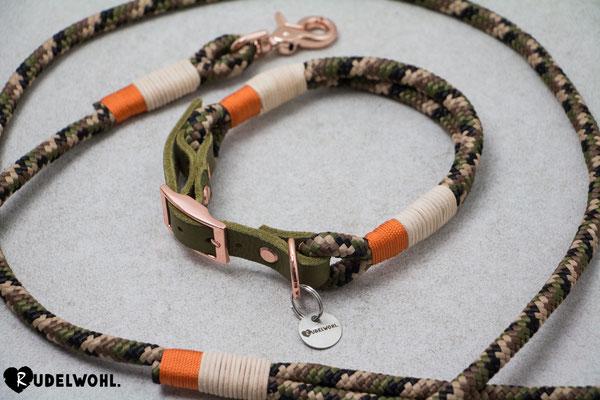 """Segeltau """"Camouflage"""" mit Takelung Orange & Leder Natur"""