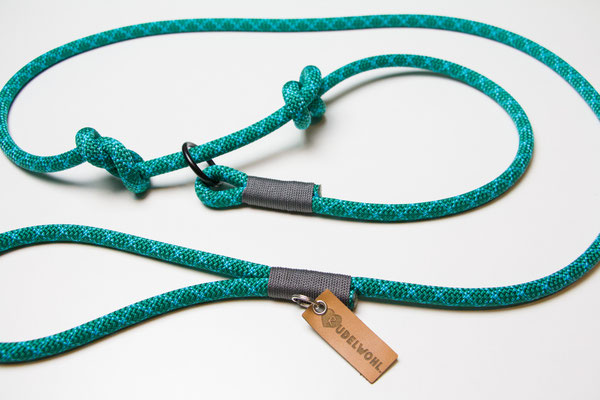 """Kletterseil """"Turquoise Water"""" mit Takelung Grau"""