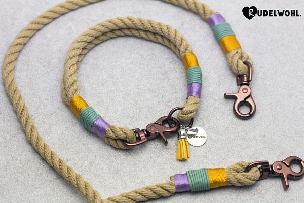 """Segeltau """"Sand Twisted"""" mit Takelung Leder Mint, Standard Goldgelb & Glanz Orchidee"""