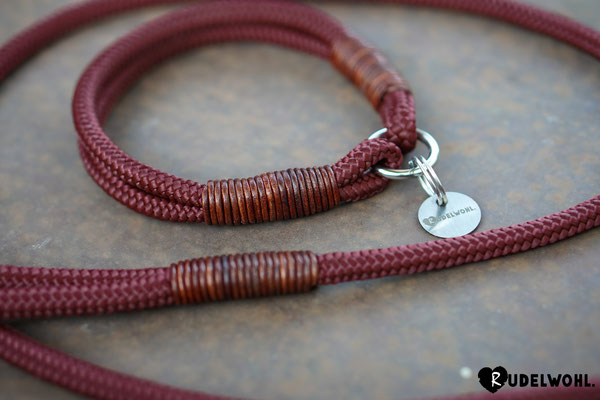 "Segeltau ""Red Autumn"" mit Takelung Leder Cognac"