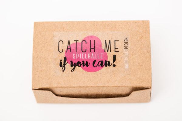 """braune Recycling Verpackunsbox der Spielbälle für Katzen """"Catch me if you can"""""""