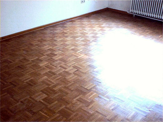 Mosaic parquet with acrylic based water paint satin
