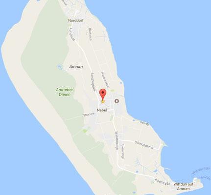 Lage der Ferienwohnung im zentralen Inselort Nebel