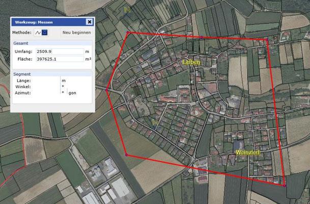 Größenvergleich Ortschaft Leiben