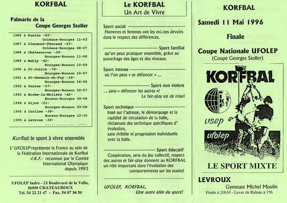 Plaquette finale coupe de France 1996 : BONSON - KAB