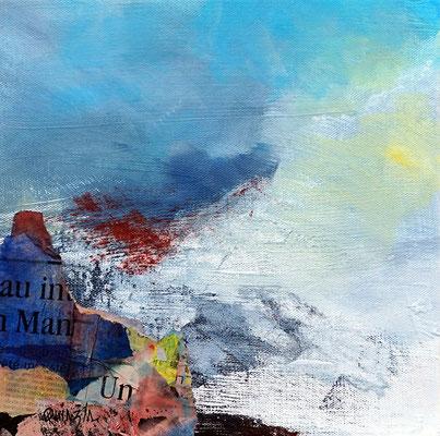 """"""" Du vent dans les cimes"""" collage acrylique et pigments 25 x 25"""
