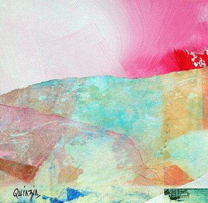 """""""Matin sucré"""" collage, encre et acrylique sur toile 19 x 19"""