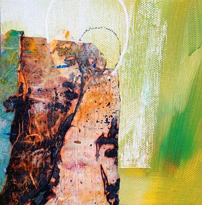 """""""Comme un bambou"""" Collage et acrylique sur toile 13 x 13"""