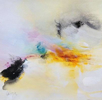 """""""Accrocher le ciel"""" pigments, acrylique sur toile 36 x 36"""
