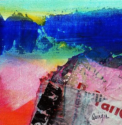 """""""Fiesta outre-mer""""  technique mixte sur toile 13 x 13"""