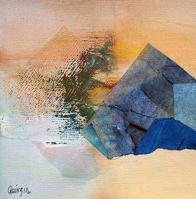 """""""Le secret des pyramides"""" papiers marouflés, pigments et acrylique sur toile 19 x 19"""