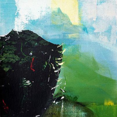 """""""Douce puissance"""" collage, acrylique et pigments sur toile 19 x 19"""