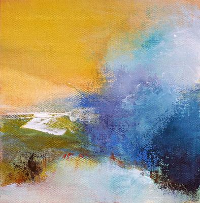 """""""Juin dehors""""  Acrylique et pigments sur toile 25 x 25"""