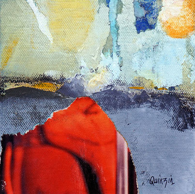 """Sur la route"" collage acrylique et pigments 13 x 13"
